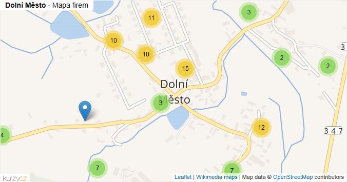 Dolní Město - mapa rozložení firem v části obce.