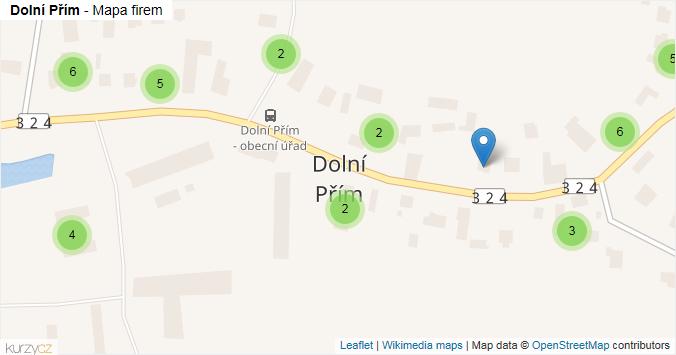 Dolní Přím - mapa rozložení firem v obci.