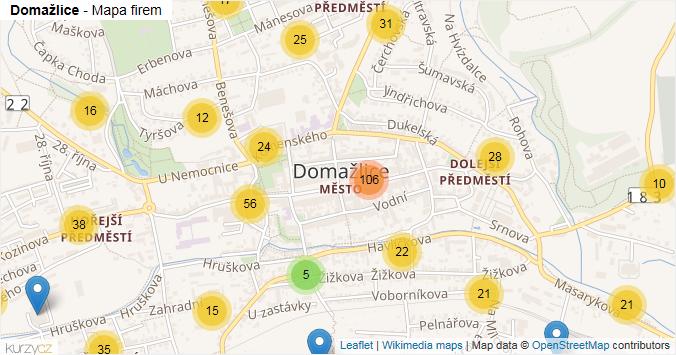 Domažlice - mapa rozložení firem v obci.
