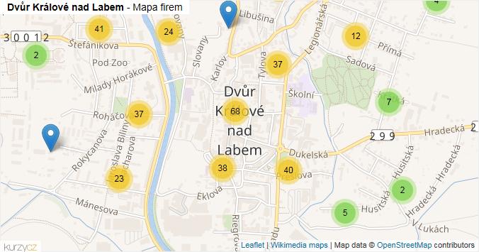 Dvůr Králové nad Labem - mapa rozložení firem v obci.