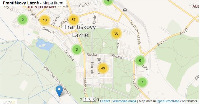 Františkovy Lázně - mapa rozložení firem v obci.