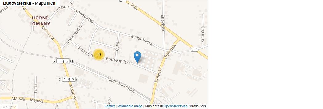 Budovatelská - mapa rozložení firem v ulici.