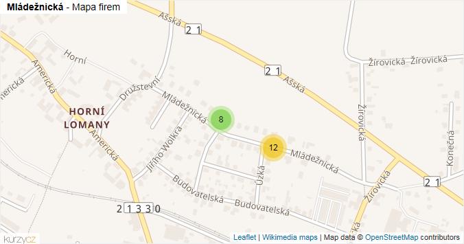 Mládežnická - mapa rozložení firem v ulici.