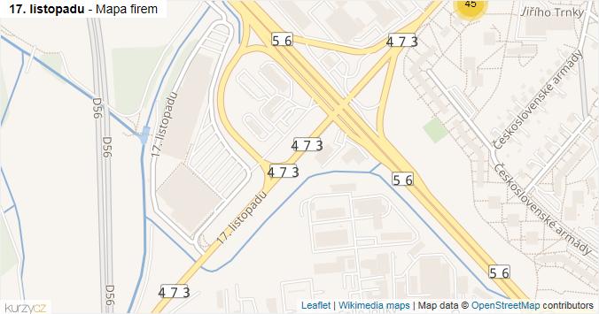 17. listopadu - mapa rozložení firem v ulici.