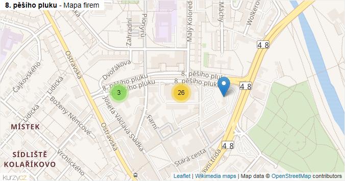 8. pěšího pluku - mapa rozložení firem v ulici.