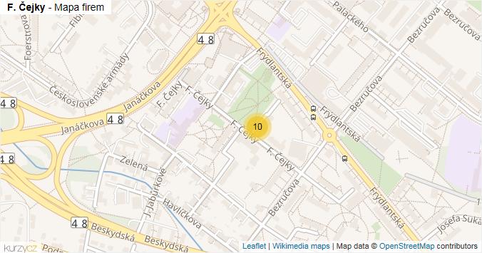F. Čejky - mapa rozložení firem v ulici.