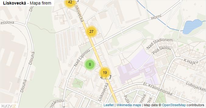 Lískovecká - mapa rozložení firem v ulici.