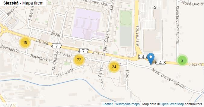 Slezská - mapa rozložení firem v ulici.