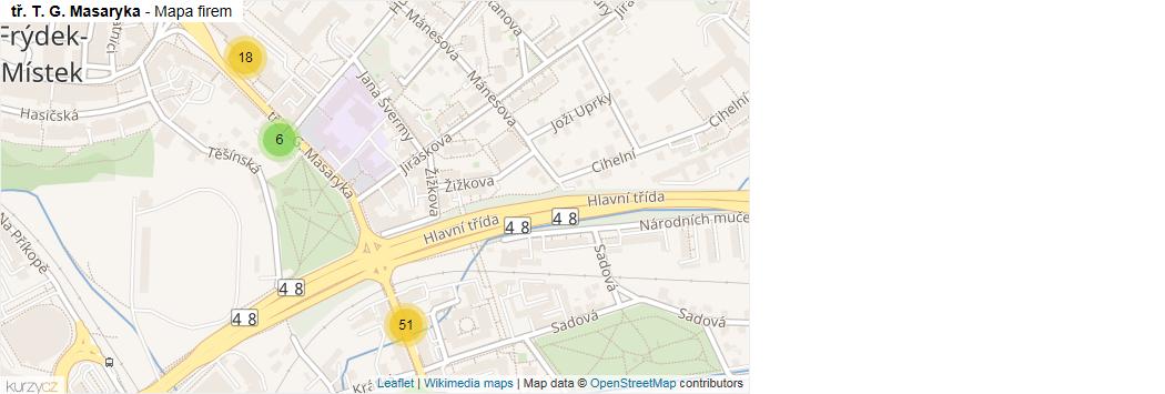 tř. T. G. Masaryka - mapa rozložení firem v ulici.