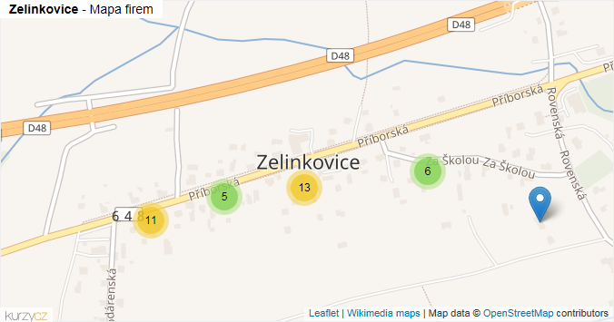 Zelinkovice - mapa rozložení firem v části obce.