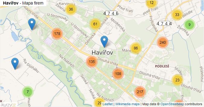 Havířov - mapa rozložení firem v obci.