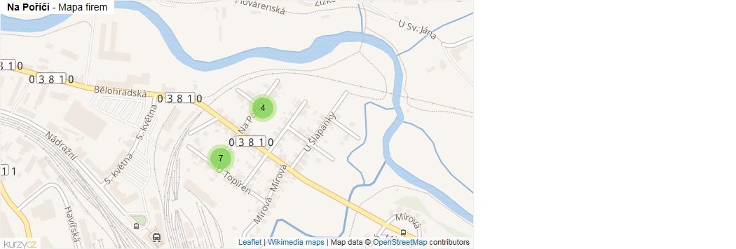 Na Poříčí - mapa rozložení firem v ulici.