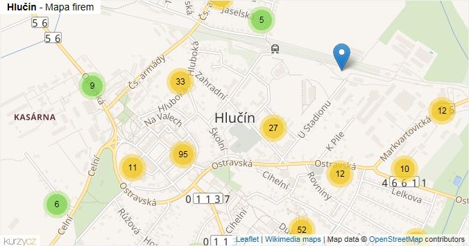 Hlučín - mapa rozložení firem v obci.