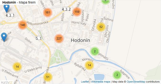 Hodonín - mapa rozložení firem v obci.
