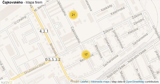 Čajkovského - mapa rozložení firem v ulici.
