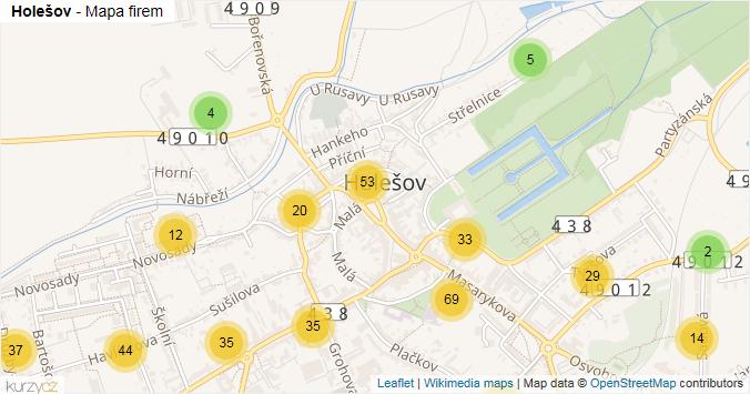 Holešov - mapa rozložení firem v obci.