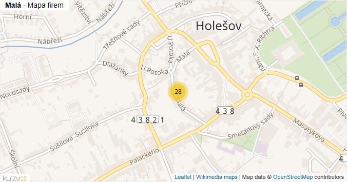 Malá - mapa rozložení firem v ulici.