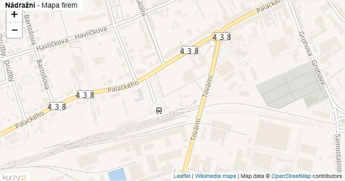 Nádražní - mapa rozložení firem v ulici.