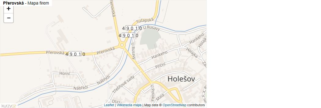 Přerovská - mapa rozložení firem v ulici.