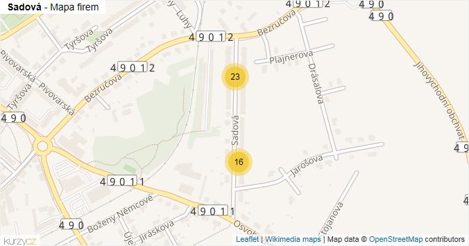 Sadová - mapa rozložení firem v ulici.