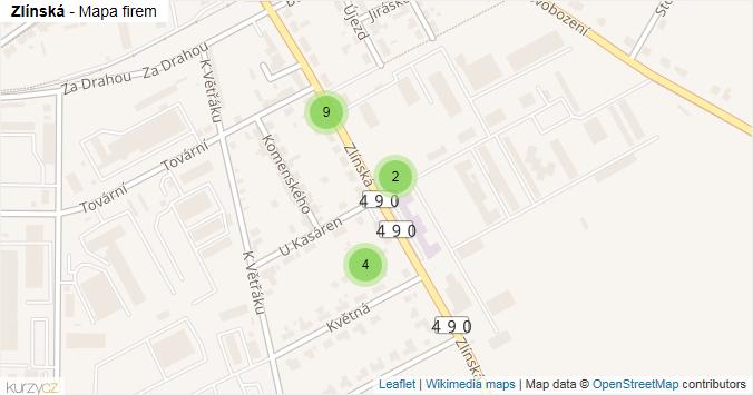 Zlínská - mapa rozložení firem v ulici.