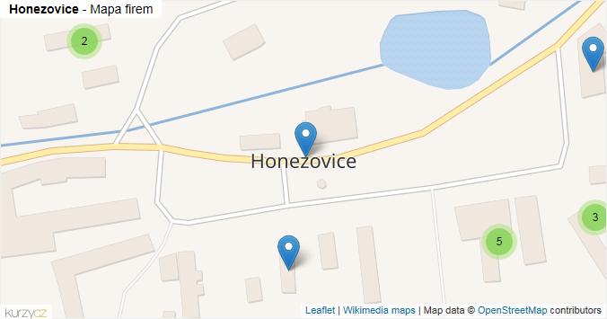 Honezovice - mapa rozložení firem v obci.