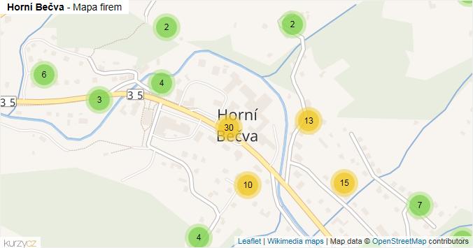 Horní Bečva - mapa rozložení firem v obci.