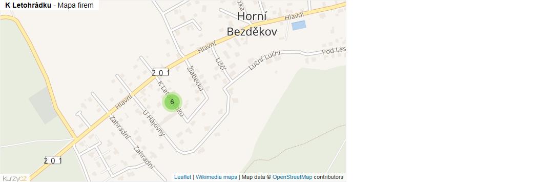 K Letohrádku - mapa rozložení firem v ulici.