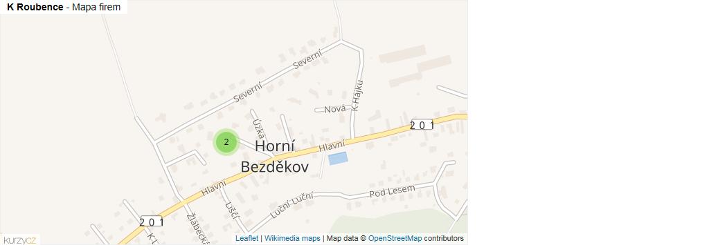 K Roubence - mapa rozložení firem v ulici.