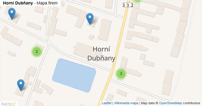 Horní Dubňany - mapa rozložení firem v obci.