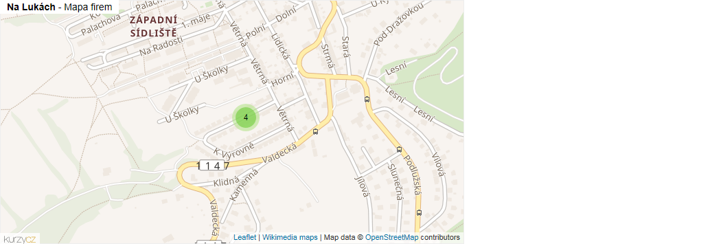 Na Lukách - mapa rozložení firem v ulici.