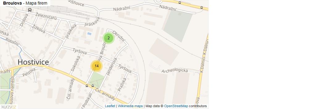 Broulova - mapa rozložení firem v ulici.