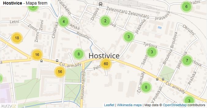 Hostivice - mapa rozložení firem v části obce.
