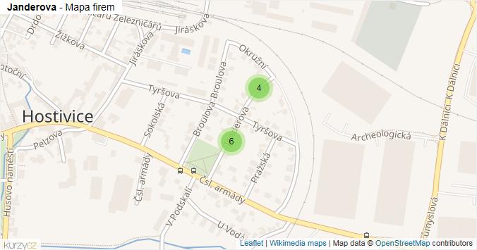 Janderova - mapa rozložení firem v ulici.