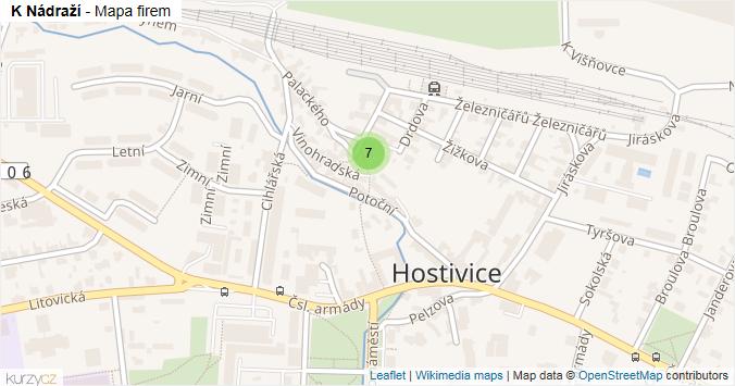 K Nádraží - mapa rozložení firem v ulici.