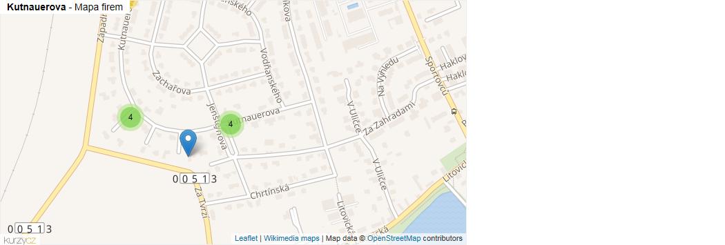 Kutnauerova - mapa rozložení firem v ulici.
