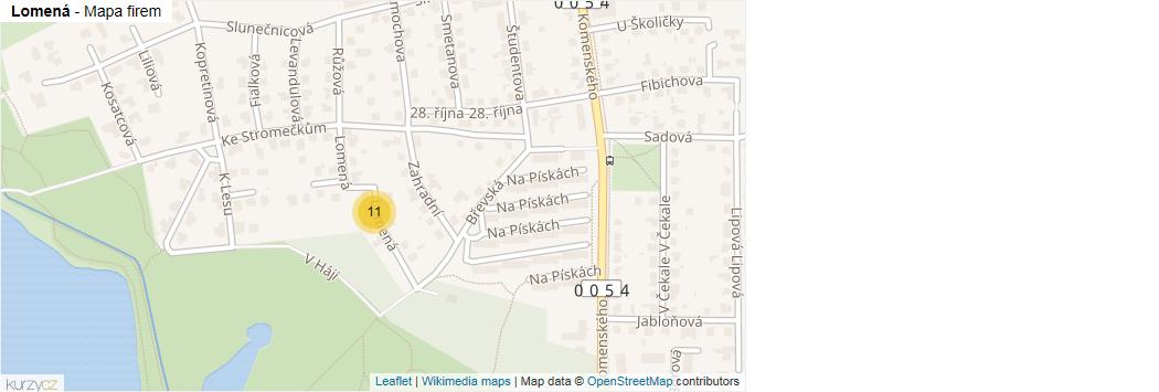Lomená - mapa rozložení firem v ulici.