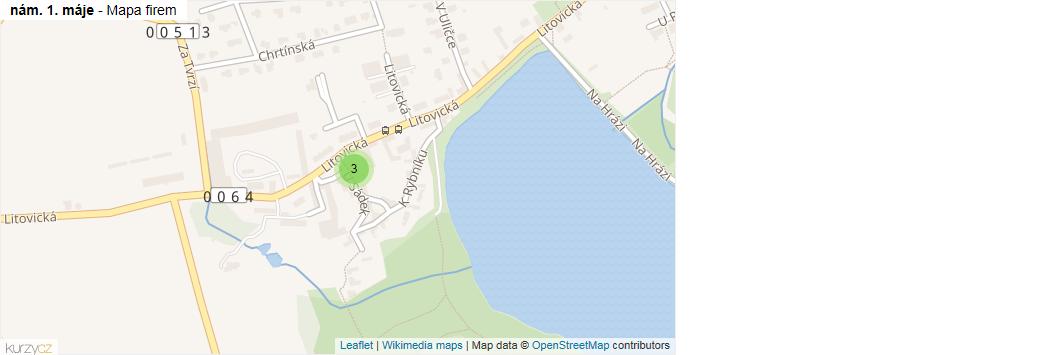 nám. 1. máje - mapa rozložení firem v ulici.