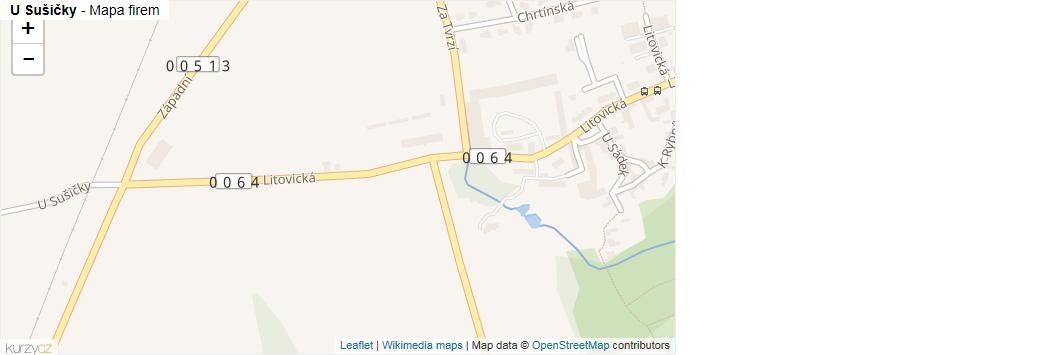 U Sušičky - mapa rozložení firem v ulici.