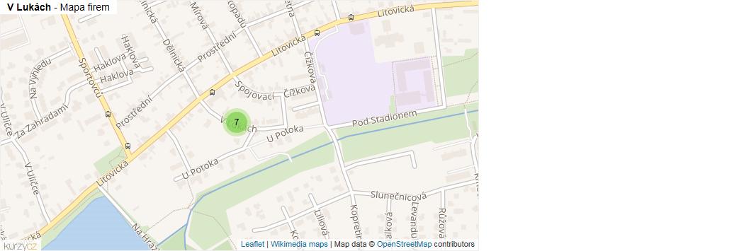 V Lukách - mapa rozložení firem v ulici.