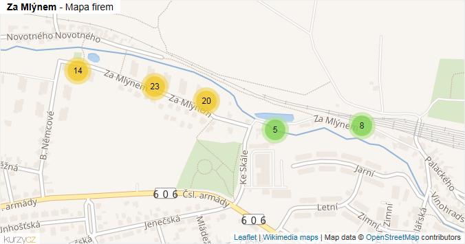 Za Mlýnem - mapa rozložení firem v ulici.