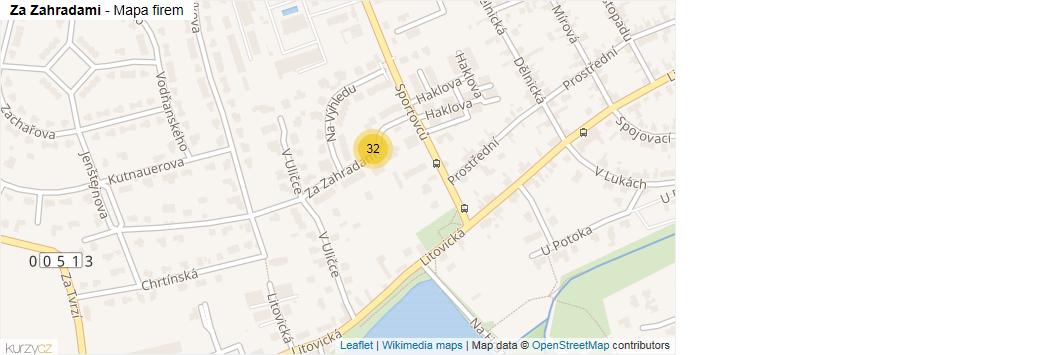 Za Zahradami - mapa rozložení firem v ulici.