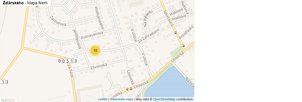 Žďárského - mapa rozložení firem v ulici.