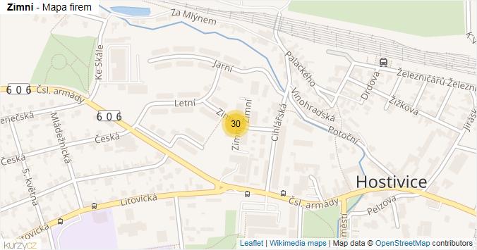 Zimní - mapa rozložení firem v ulici.