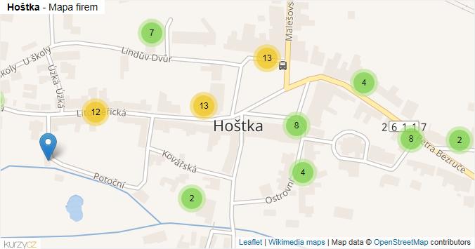 Hoštka - mapa rozložení firem v obci.