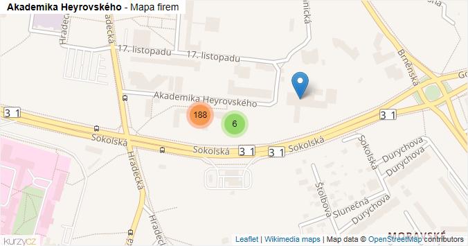 Akademika Heyrovského - mapa rozložení firem v ulici.