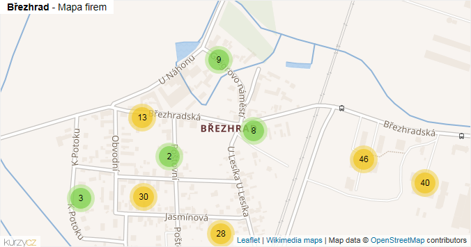 Březhrad - mapa rozložení firem v části obce.