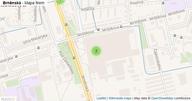 Brněnská - mapa rozložení firem v ulici.