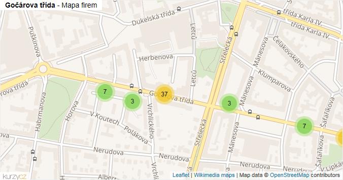 Gočárova třída - mapa rozložení firem v ulici.