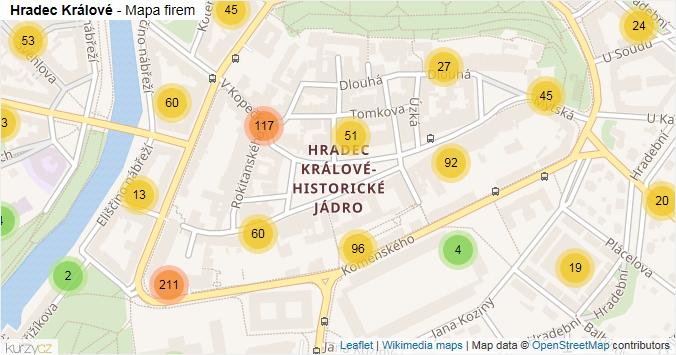 Hradec Králové - mapa rozložení firem v části obce.
